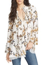 Free People Women's Floral Print Smocked Tunic Ivory Combo