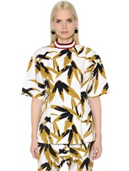 Marni Leaf Printed Cotton And Linen Top