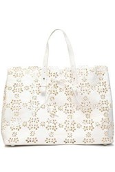 Simone Rocha Laser Cut Textured Leather Tote White
