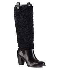 Ugg Ava Sheepskin And Leather Tall Boots Black