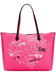 Hogan Printed Tote Women Leather One Size Pink Purple