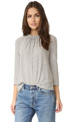 La Vie Rebecca Taylor Ruffle Tee Grey Heather