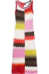 Missoni Crochet Knit Maxi Dress Pink Red