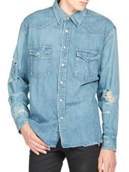 Saint Laurent Distressed Denim Shirt Light Blue