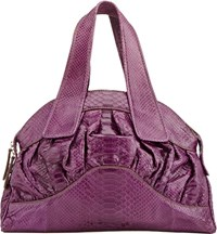 Zagliani Python Wave Medium Shoulder Bag Purple
