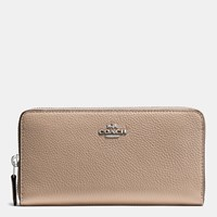 Coach Accordion Zip Wallet In Polished Pebble Leather Sv Stone