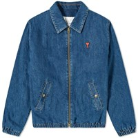 Ami Alexandre Mattiussi A Heart Denim Harrington Jacket Blue