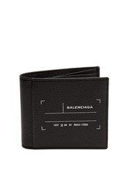 Balenciaga Tag Print Bi Fold Leather Wallet Black