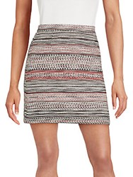 Saks Fifth Avenue Red Textured A Line Skirt Red Black