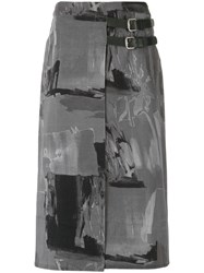 Uma Raquel Davidowicz Belted Midi Skirt Women Cotton Spandex Elastane 38 Grey