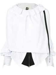 Aganovich Layered Oversize Sleeve Top White