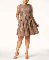 Ellen Tracy Plus Size Lace Fit And Flare Dress With Belt Champagne