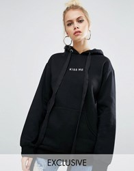 Adolescent Clothing Valentines Oversized Boyfriend Hoodie With Kiss Embroidery Black
