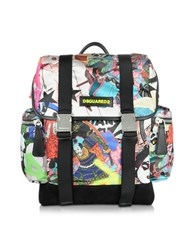 Dsquared Multicolor Manga Printed Nylon And Leather Men's Backpack