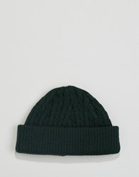 Asos Mini Cable Fisherman Beanie In Green Green