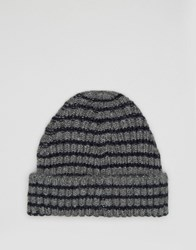 Asos Striped Beanie In Grey And Navy Grey