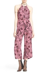 Women's Free People Crop Halter Jumpsuit Lilac Combo