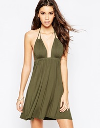 Asos Halter Jersey Mini Beach Dress Khaki