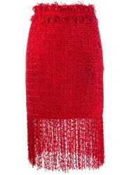 Msgm Fringed Skirt Red