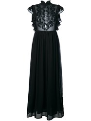 Manoush Embroidered Front Semi Sheer Dress Black