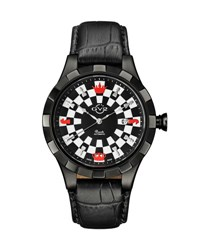 Gv2 46Mm Scacchi Men's Checkerboard Leather Watch Black