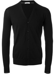 Paolo Pecora V Neck Cuff Detail Button Down Cardigan Black