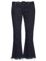 Marques Almeida Frayed Edge Flared Leg Cropped Jeans Indigo