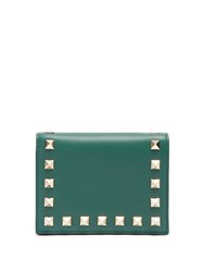 Valentino Rockstud French Flap Leather Wallet Green