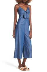 Soprano Women's Tie Front Chambray Jumpsuit