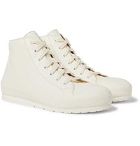 Brioni Leather High Top Sneakers White
