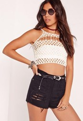 Missguided Ring Detail Knitted Bralet Ivory