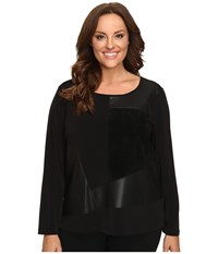 Calvin Klein Plus Size Long Sleeve Top W Faux Leather And Suede Mix Black Women's Long Sleeve Pullover