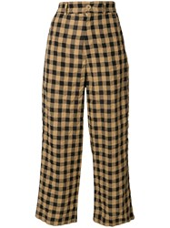 Aspesi Cropped Checkered Trousers Brown