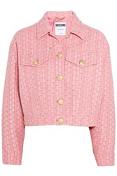 Moschino Raffia And Boucle Tweed Jacket Pink