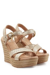 Ugg Australia Woven Leather Jazmine Platform Wedges Beige