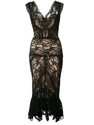 Nicole Miller Sheer Lace Dress Black