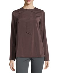 Brunello Cucinelli Long Sleeve Crepe De Chine Top Prune