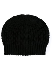 Rick Owens Ribbed Knit Beanie Black