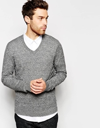 Asos V Neck Jumper In Cotton Blacktwist