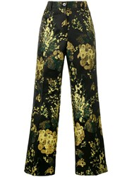 Dries Van Noten 'Powell' Floral Print Brocade Trousers Black