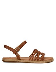 Ugg Larisa Leather Ankle Strap Sandals Brown