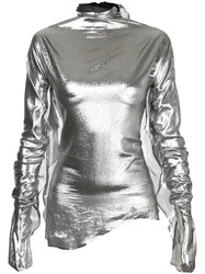 Paula Knorr Turtleneck Blouse Women Silk Polyester S Metallic