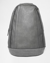 Asos Backpack With Strap Details Grey