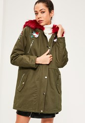 Missguided Khaki Hooded Red Faux Fur Trim Parka Coat