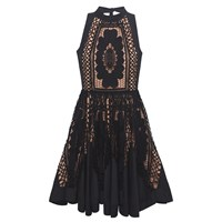 Bora Aksu Lace And Cotton Halter Neck Dress With Tie Black