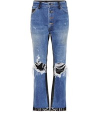 Amiri Leather Trimmed Cropped Jeans Blue