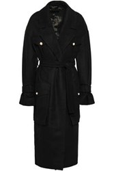 Mother Of Pearl Woman Faux Embellished Wool And Cashmere Blend Felt Coat Black