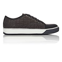 Lanvin Men's Crocodile Stamped Cap Toe Sneakers Dark Grey