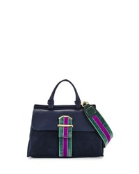 Cynthia Rowley Hudson Mini Suede Striped Satchel Bag Black