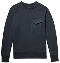 Rag And Bone Aviator Loopback Cotton Jersey Sweatshirt Midnight Blue